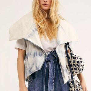 Free People Just a little Puffer Vest tiedye SMALL